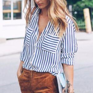 Express Blue & White Striped Portofino Shirt